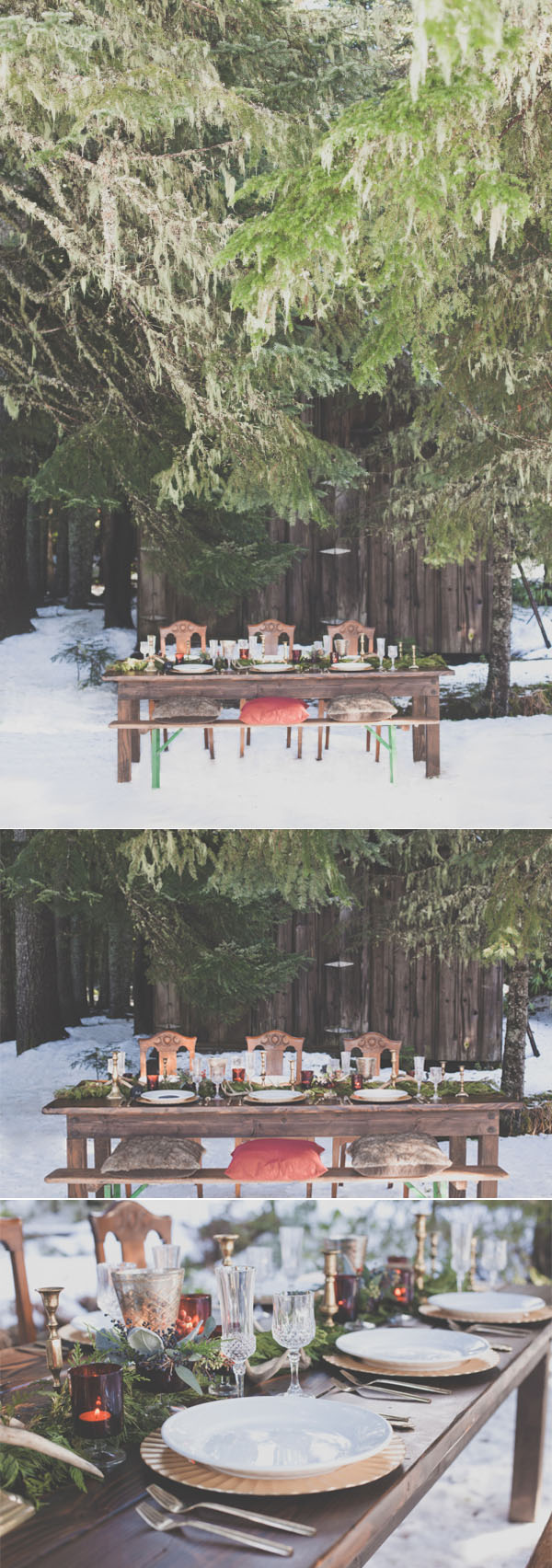 beautiful woodland snowy wedding table settings