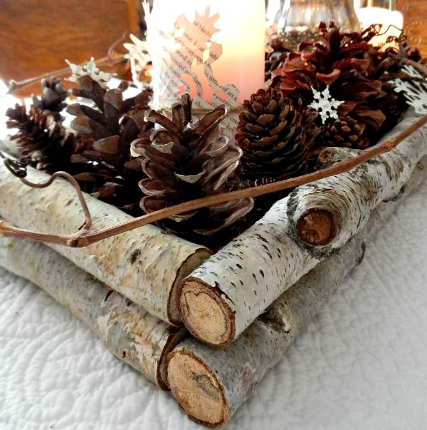 birch branch and pinecone winter wedding centerpieces
