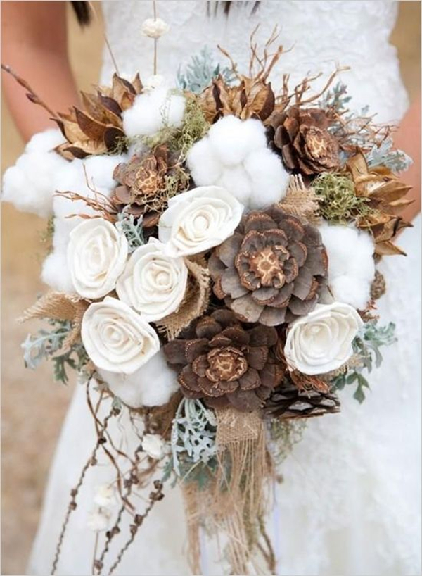 blooming beautiful wedding bouquets with pines
