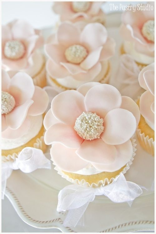 blush cupcakes for bridal shower