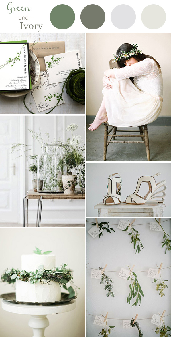 chic green and ivory wedding color ideas 2016