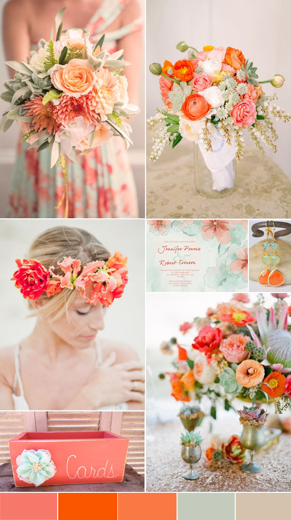 2016 spring wedding color trends chapter twostunning peach coral and mint floral bohemian wedding ideas with foral printed bridesmaid dresses junglespirit Gallery