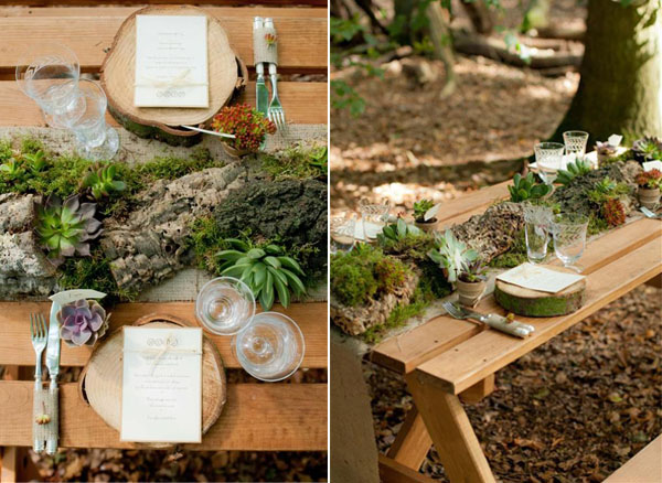 creative and special rustic succulent woodland wedding table ideas