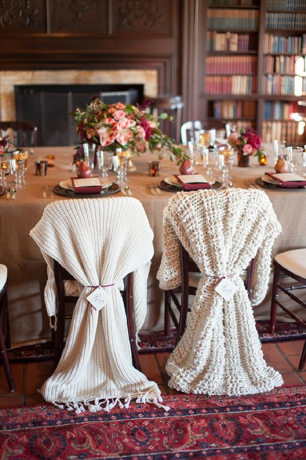 creative cold weather wedding chair decor