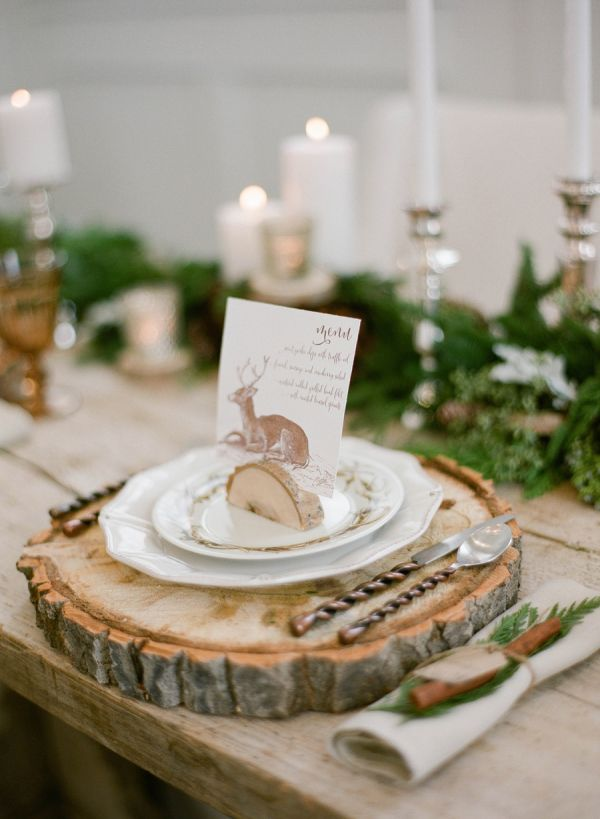 creative rustic winter wedding table settings