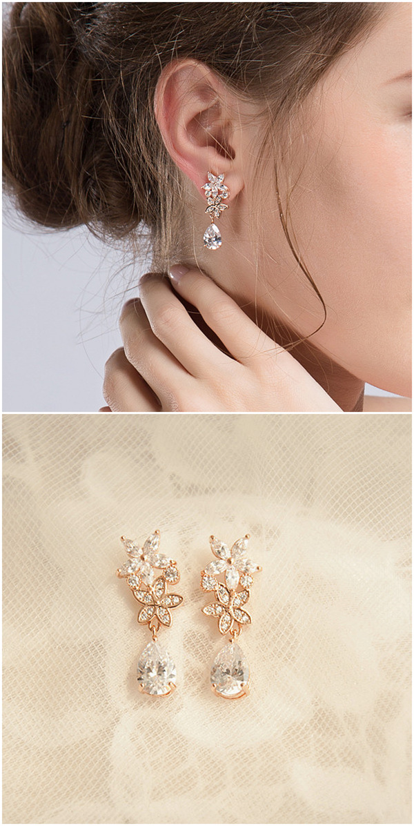 delicate rose gold plated crystal drop wedding earrings EWAER022