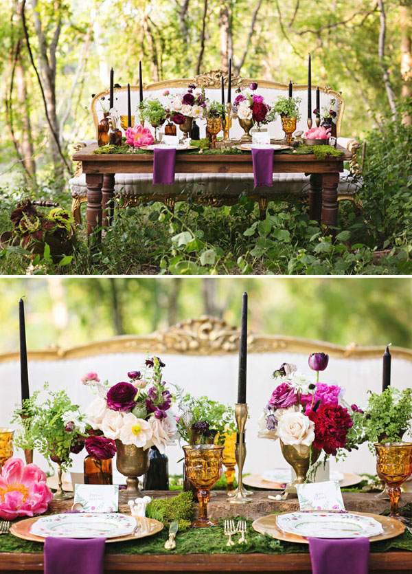 enchanted vintage forest wedding table ideas