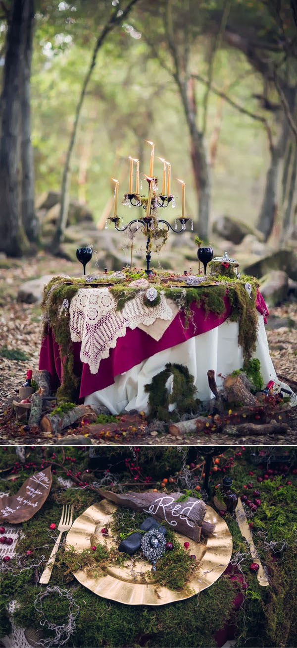 fairytale red forest wedding inspiration