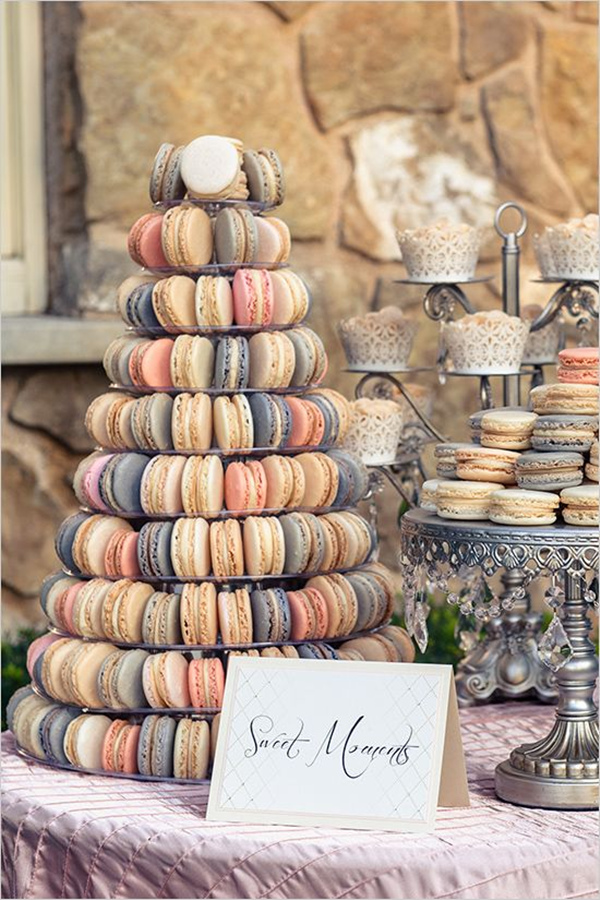 french macaron tower dessert ideas  for rustic weddings