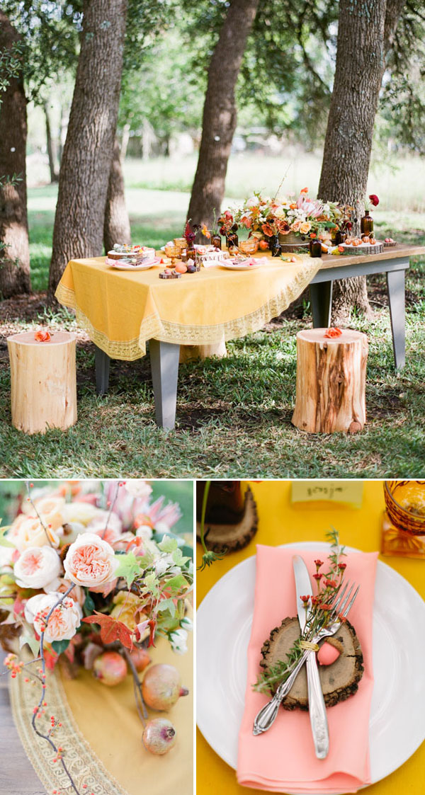 gorgeous boho yellow and pink woodland wedding tablescape
