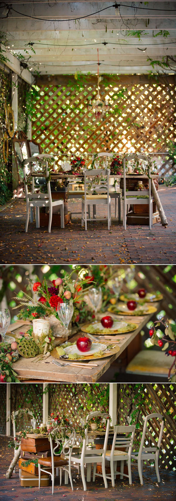 gorgeous indoor wedding table settings with red apples for winter wedding