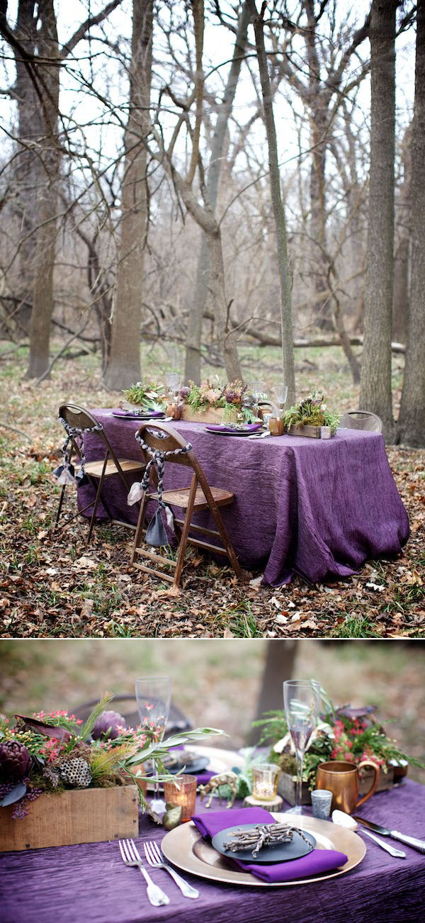 gorgeous woodland purple wedding table setting inspiration