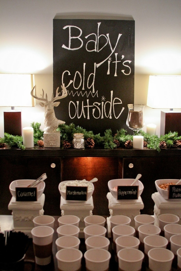 hot chocolate bar for a cold winter season wedding reception