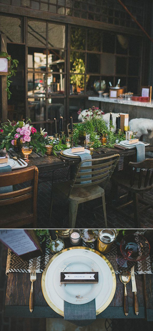 industrial woodland indoor wedding table setting inspiration