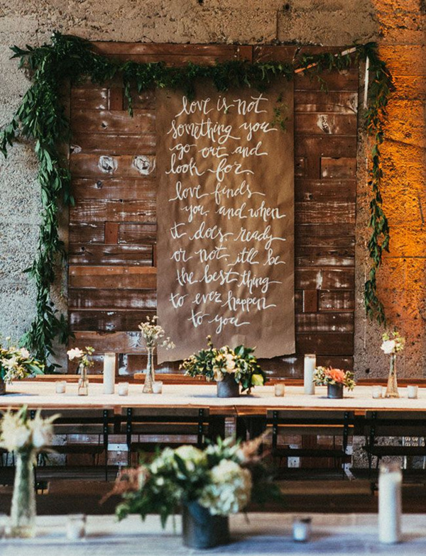 kraft paper scroll with calligrapht quote wedding ideas