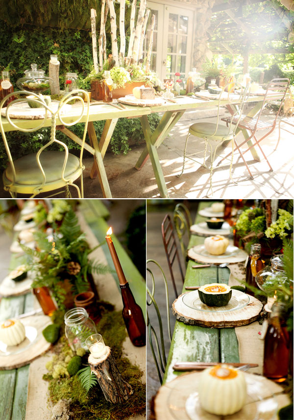 magical rustic woodland indoor wedding dinner table inspiration