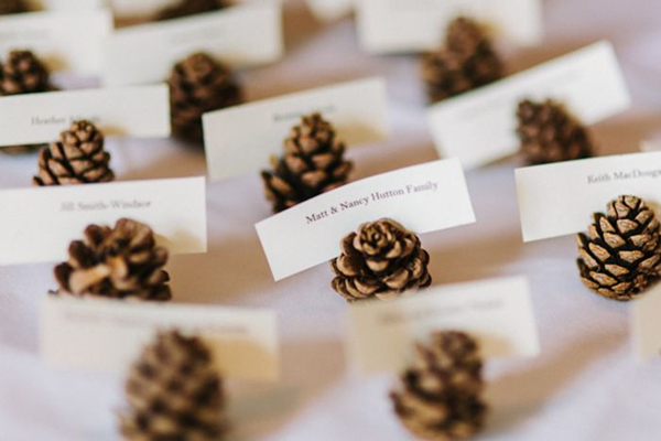 mini pinecone wedding escort cards ideas