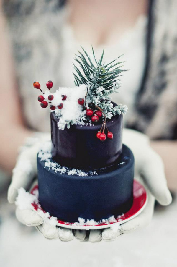 navy blue christmas mini wedding cake