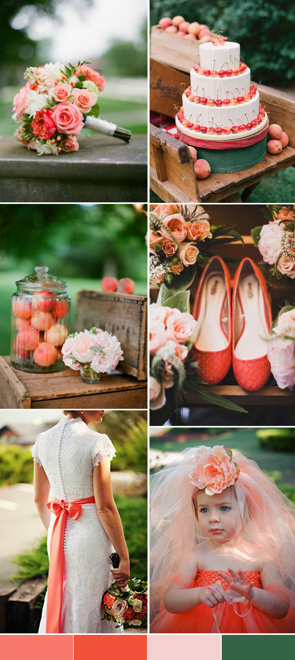 peach and dark green spring and summer wedding ideas