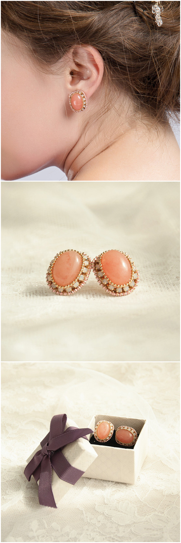 peach and gold themed bridal earrings wedding jewelry EWAER029