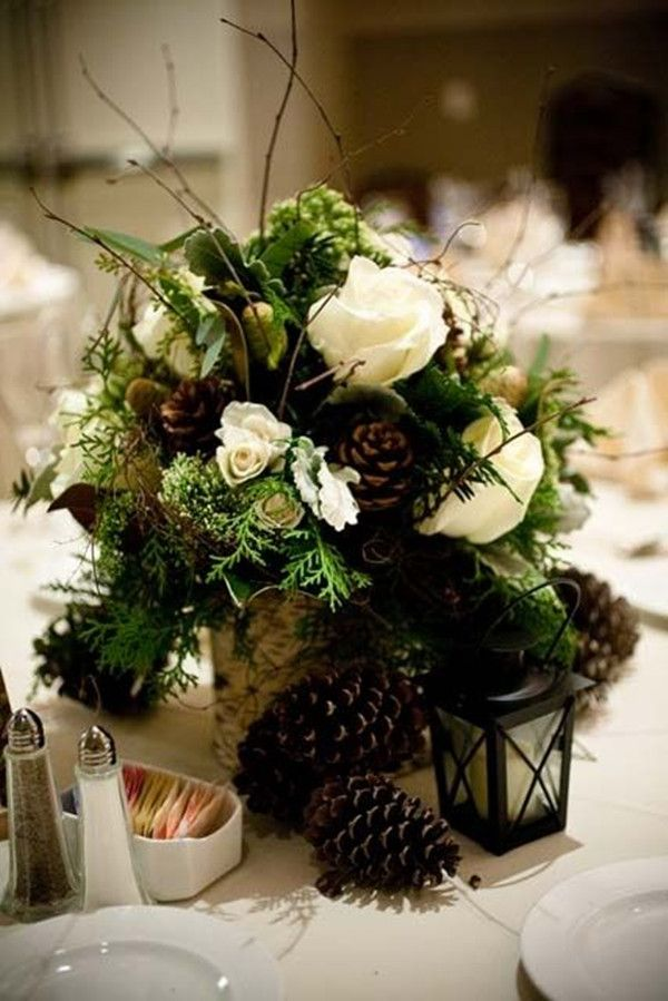 pine themed winter wedding centerpieces ideas