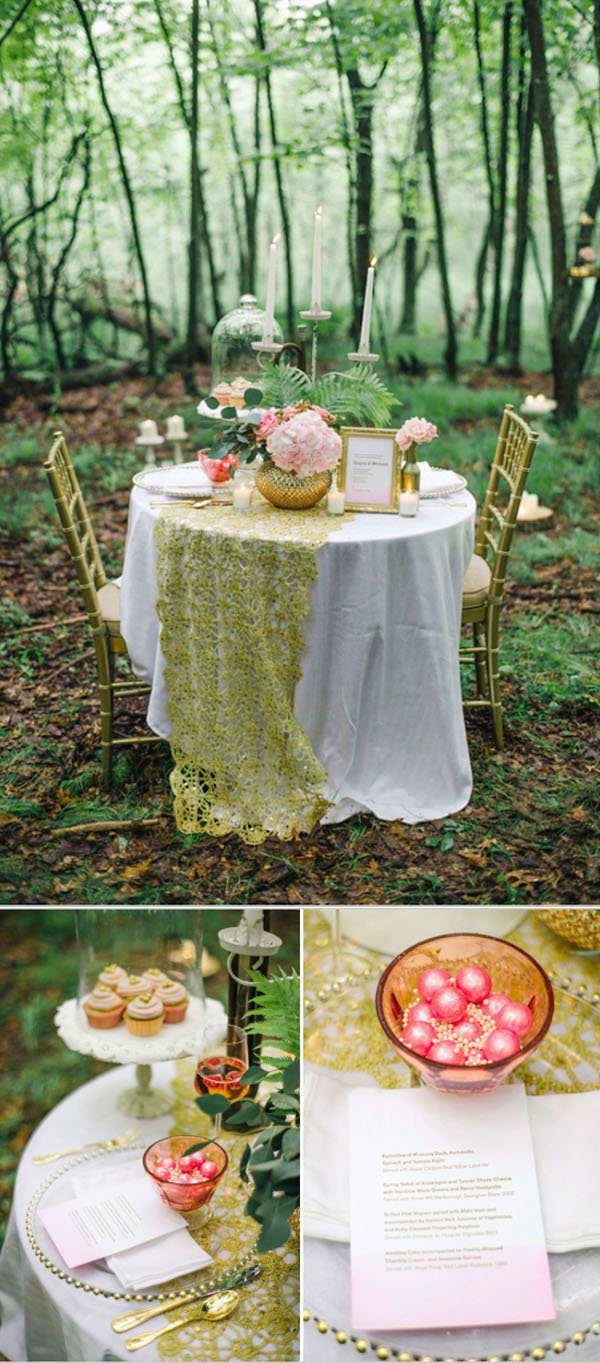 romantic gold and pink woodl and wedding dinner table inspiration