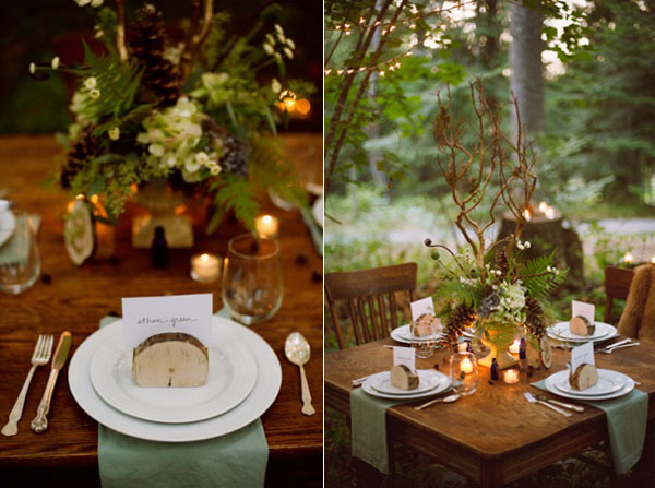 rustic dining table inspiration for outdoor woodland weddings