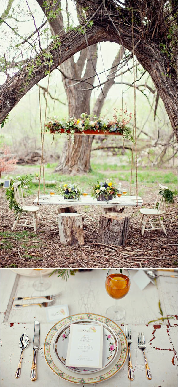 rustic woodland boho style swinging wedding inspiration