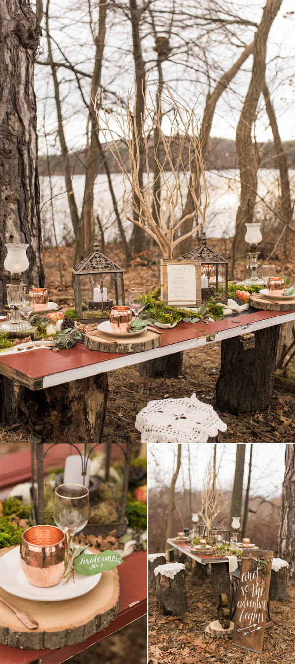 rustic woodland outdoor fairytale spring wedding tablescape