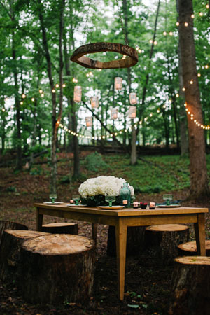 rustic woodland wedding table setting ideas
