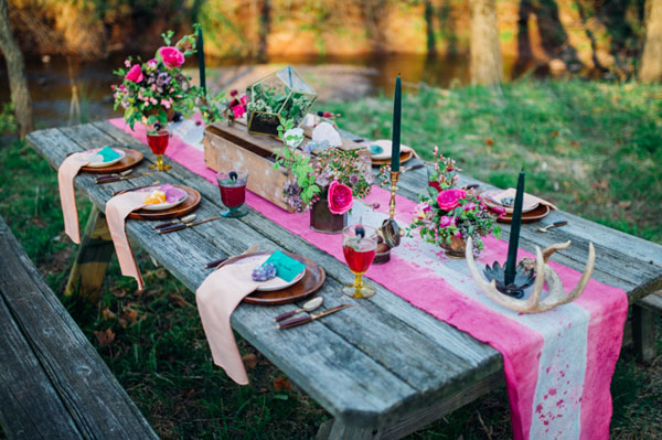 stunning colorful bohemian gemstone woodland wedding table