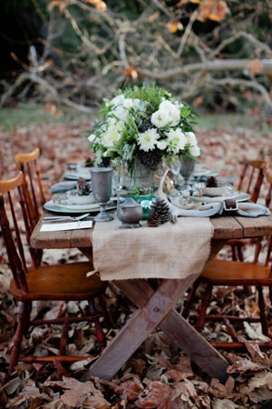unique vintage woodland wedding table settings