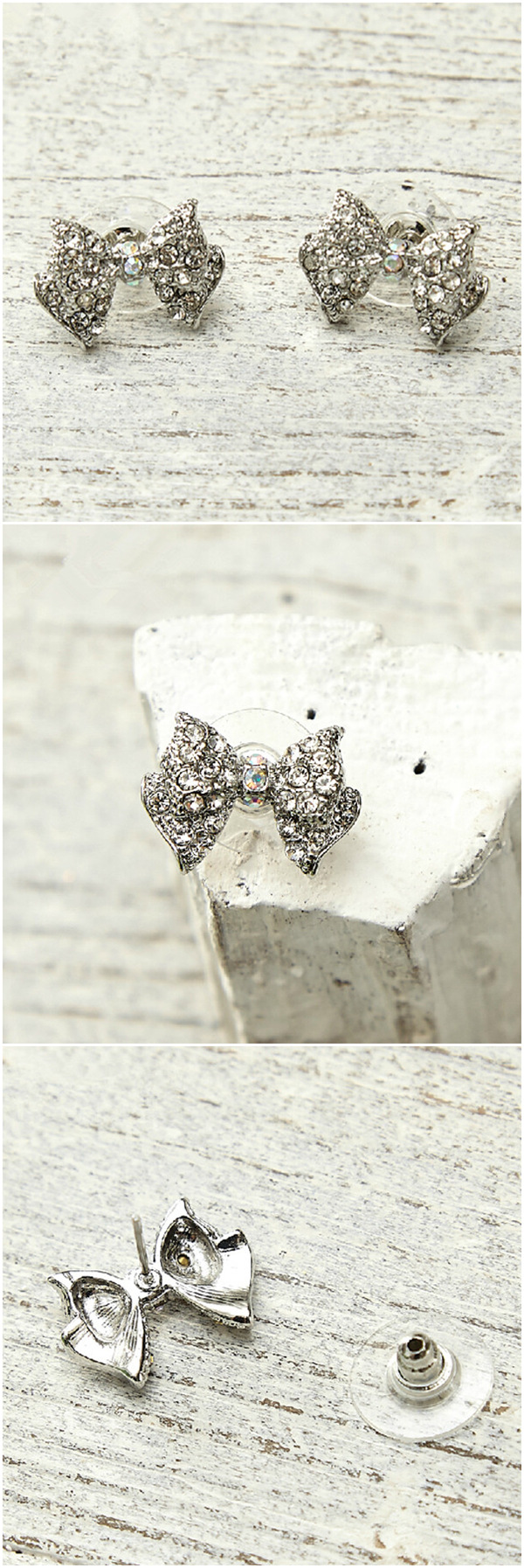 vintage butterfly bow rhinestone wedding jewelry bridal earrings EWAER037