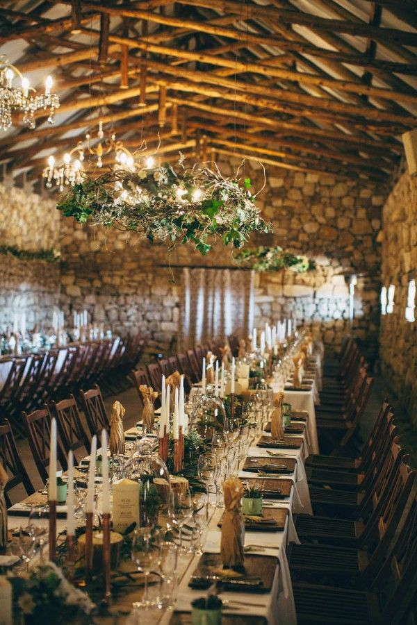 vintage woodland indoor wedding reception