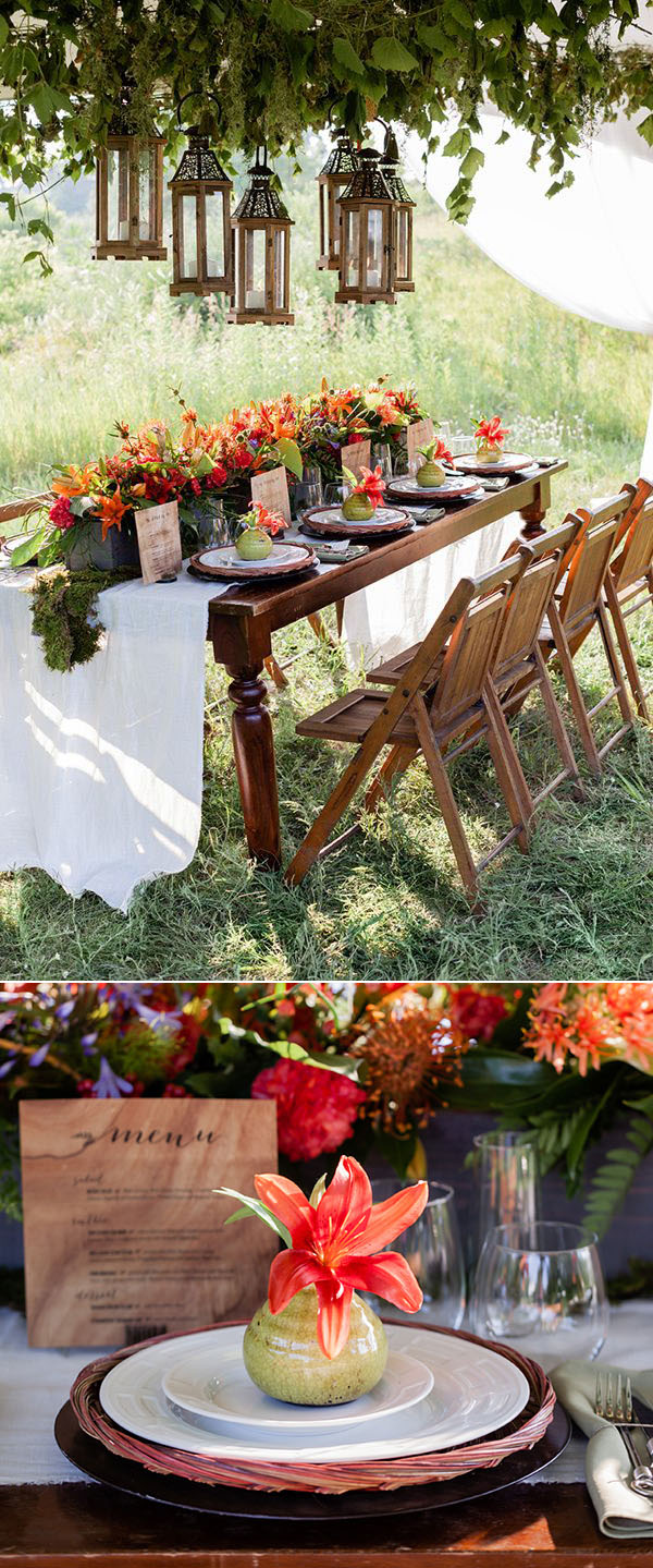 vivid coral foral woodland wedding table ideas