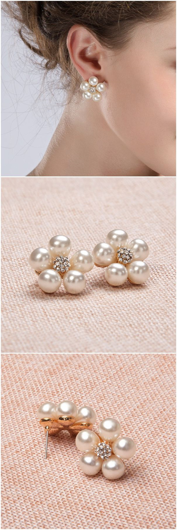 wedding accessories elegant floral rhinestone and pearl bridal earrings EWAER007