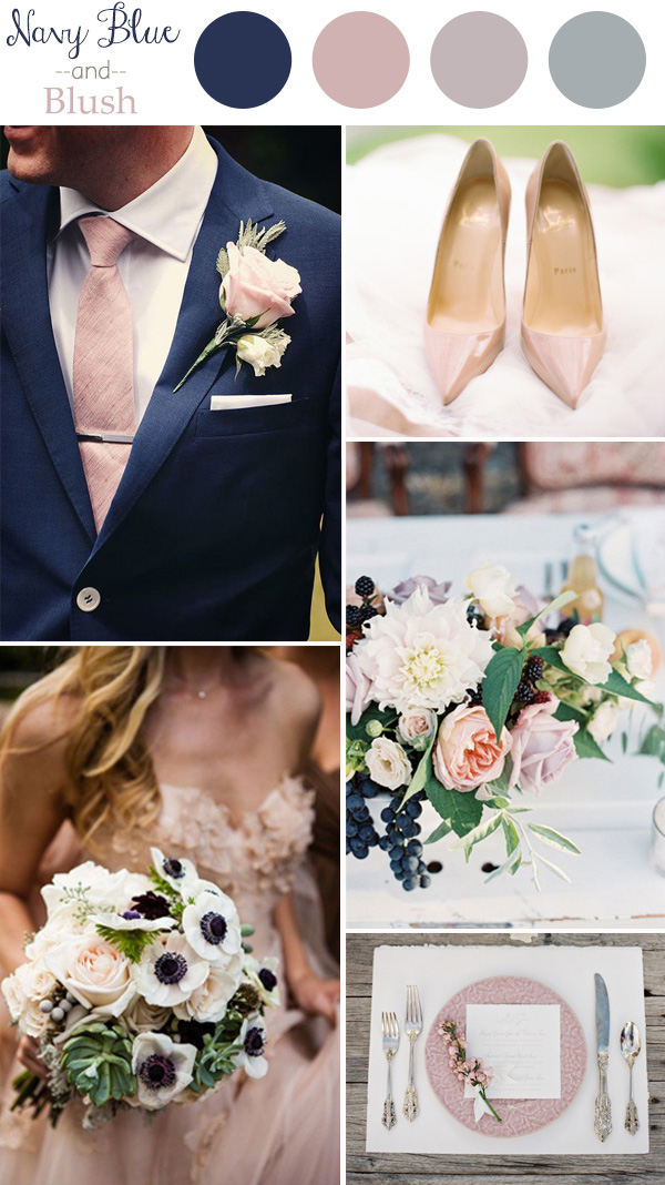 Wedding colors 2016 perfect 10 color combination ideas to love wedding color trends 2016 navy blue and blush junglespirit Gallery