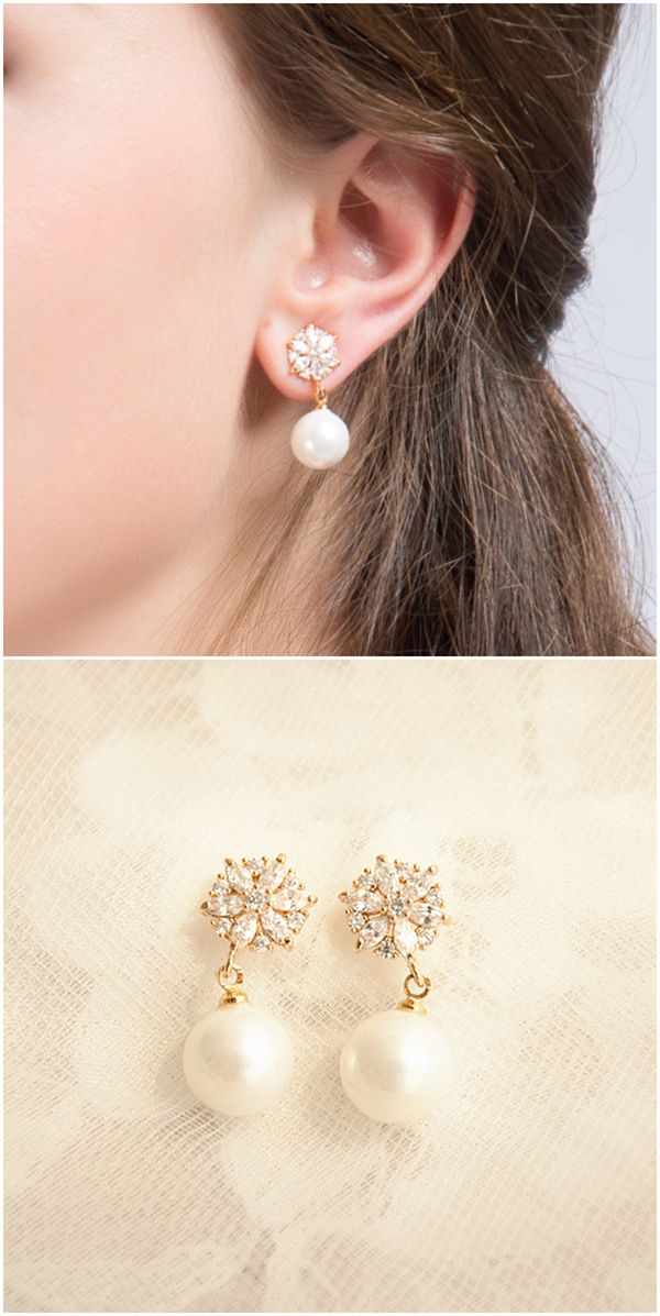 wedding jewelry vintage pearl bridal earrings EWAER024
