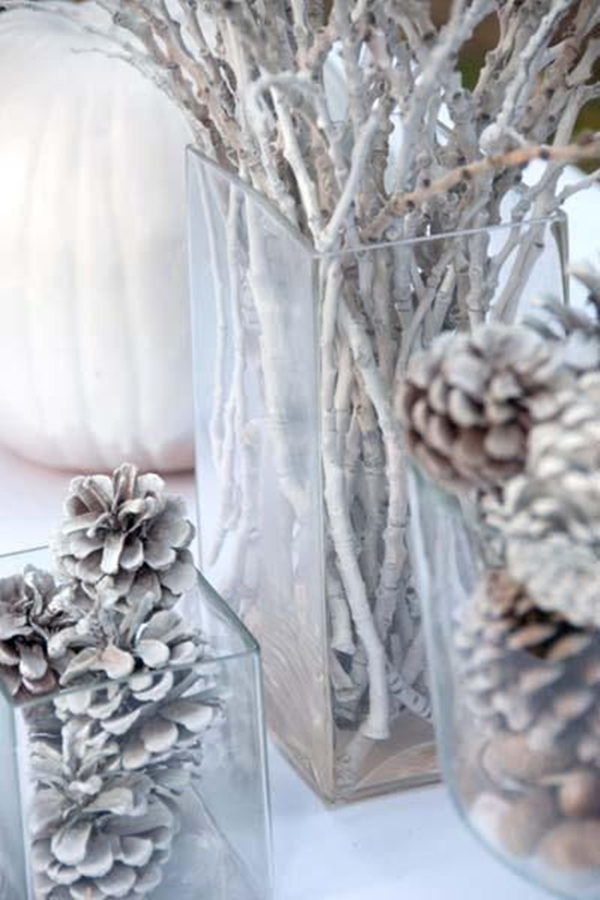 white glamorous winter wedding decoration ideas