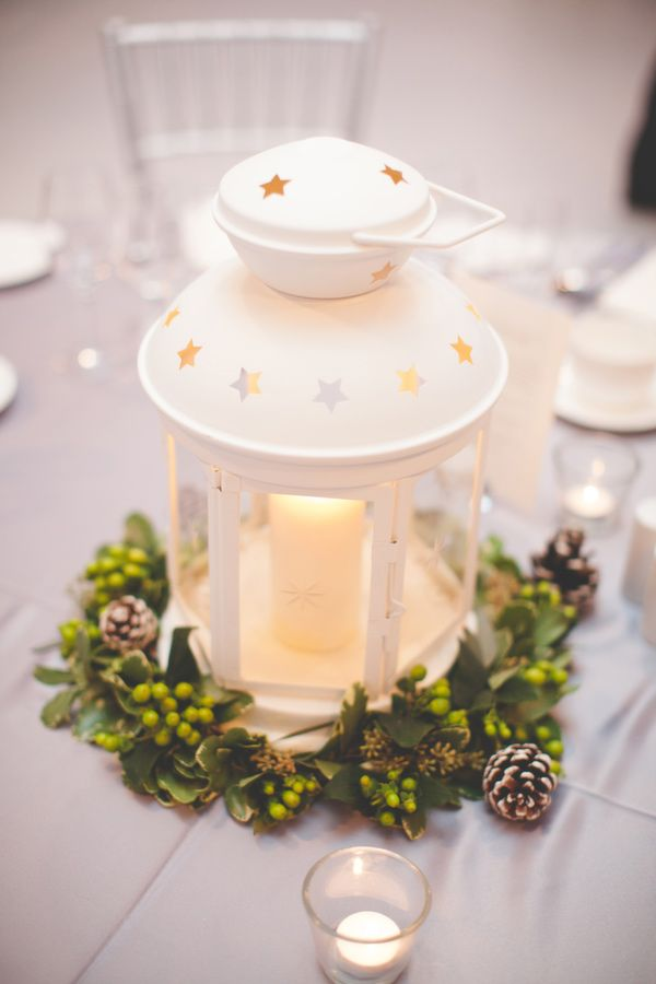 white lantern winter centerpieces