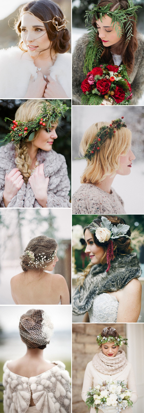 winter brides wearing beautiful headpieces