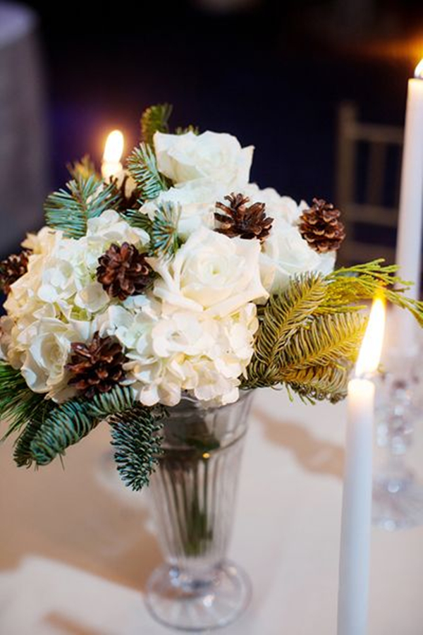 winter wedding centerpieces ideas with pinecones