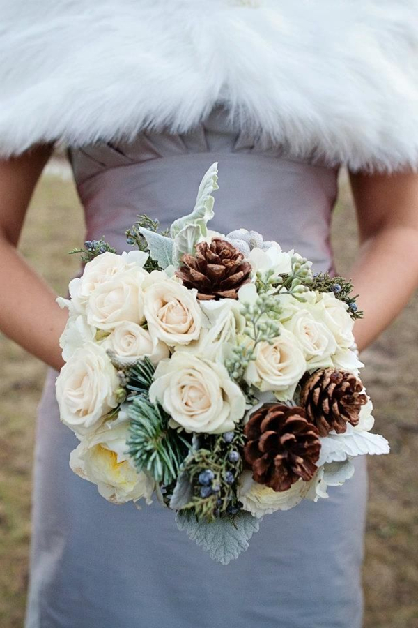 wintery pine and rose wedding bouquets