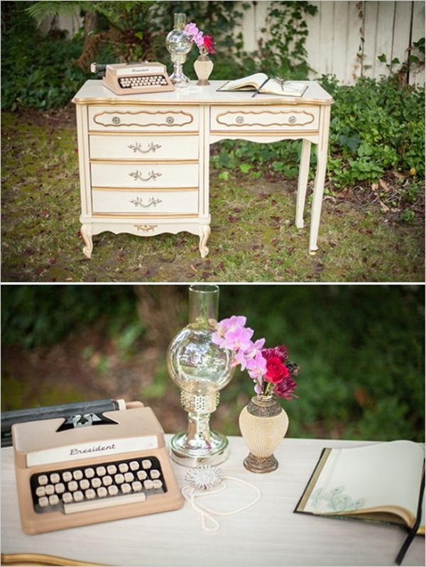 1920s vintage wedding dresser guestbook ideas