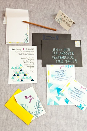 Geometric Details wedding invitations for 2016 trends