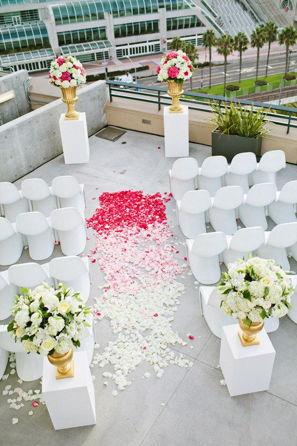 Rooftop Wedding Ceremony with omber aisle