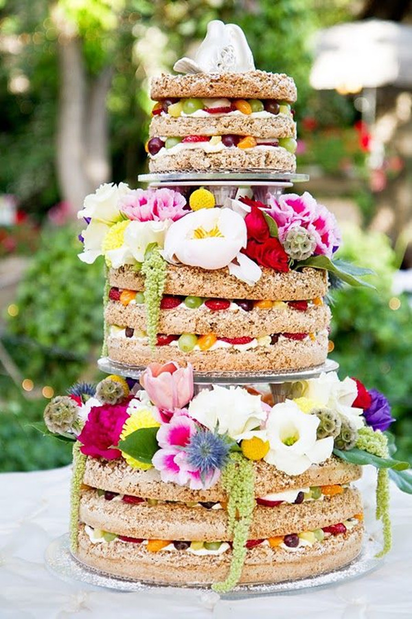 Unfrosted Wedding cake and fruit in layers