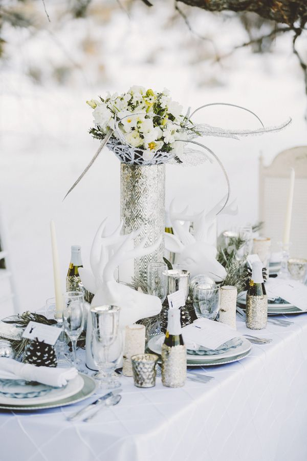all-white wonderland outdoor winter wedding tablescape