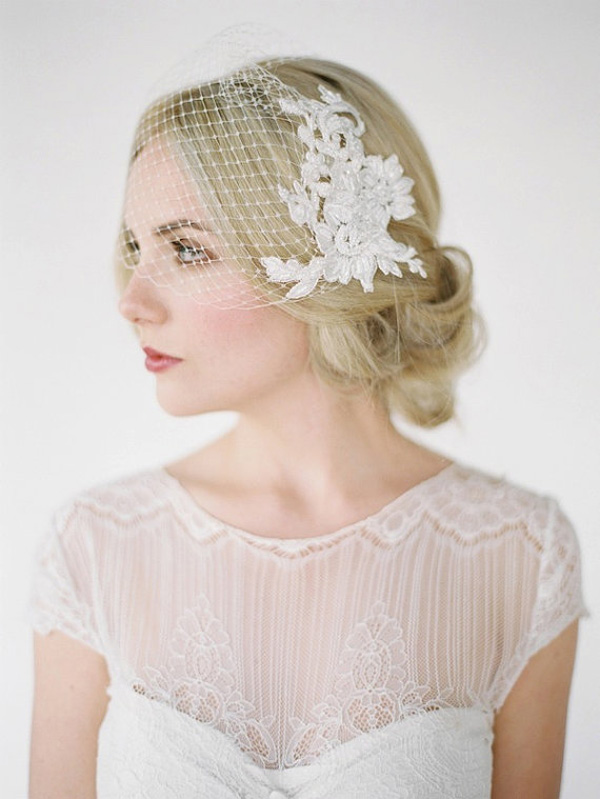 beautiful birdcage veil with lace combs