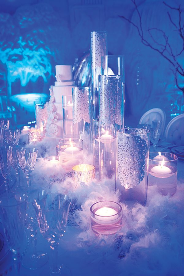 beautiful fairtale winter wedding tabletop ideas